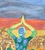 Canvas & Acrylic 8.5 x 1.5 x 11 Inch Yoga Day Original Framed Painting by Krish Art