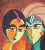 Krish Art Canvas & Acrylic 8 x 1.5 x 10 Inch Radha Krishna Couple Original Framed Painting