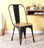 Kumtor Metal Chair in Distress Black Color with Wooden Seat