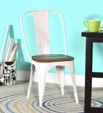 Kumtor Metal Chair in Distress White Color with Wooden Seat