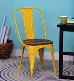 Kumtor Metal Chair in Distress Yellow Color with Wooden Seat