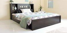 Kumiko Queen Bed with Headboard Storage in Brown & Sonoma Oak Finish