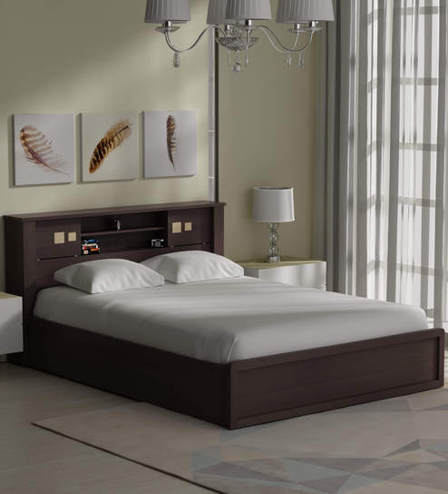 Iko Queen Bed With Headboard Storage In Brown Sonoma Oak Finish By Mintwud