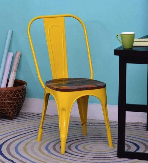 Genial Kumtor Metal Chair In Distress Yellow Colour With Wooden Seat By Bohemiana