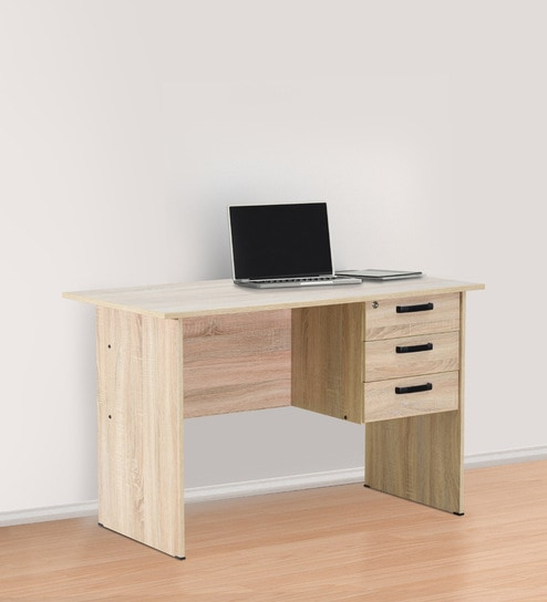 Kuro Small Study Table With 3 Drawers In Sonoma Oak Finish By Mintwud Online Modern Tables Furniture Pepperfry Product