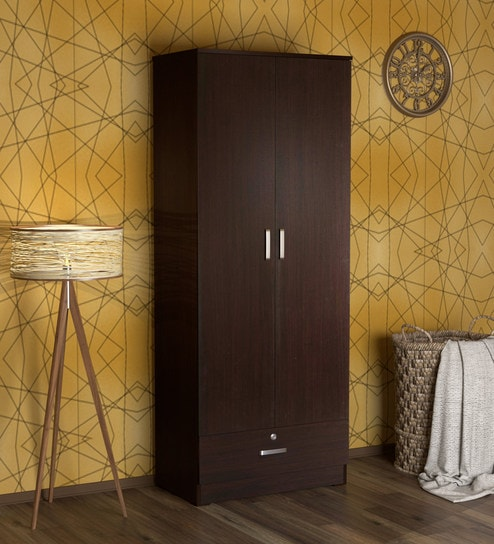 Buy Furniture Cabinetry Wardrobes Modern Kuruma 2 Door Wardrobe in Wenge Finish by Mintwud