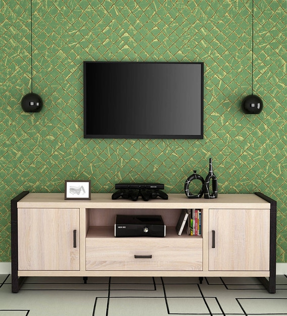 Buy Kuro Large Tv Unit In Sonoma Oak Finish Mintwud By Pepperfry Online Mid Century Modern Tv Consoles Cabinetry Furniture Pepperfry Product