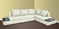L Shape Sectional Corner Sofa with Right Lounger in Off White Colour