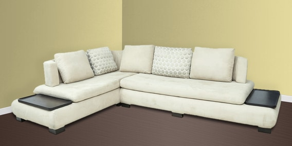 L Shape Sectional Corner Sofa With Left Lounger In Off White Colour By Star India