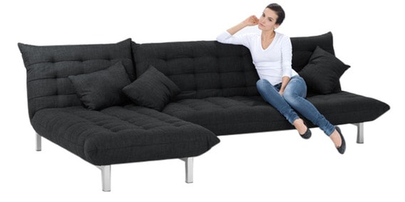 L Shaped Sofa Bed In Black Colour By Furny