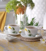 La Opala Iris Large Amber Lily Opal Ware 180 ML Cup and Saucer - Set of 6