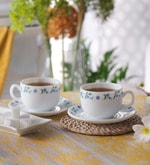 La Opala Iris Juniper Blue Opal Ware 160 ML Cup and Saucer - Set of 6