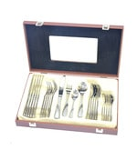 Lacuzini Stainless Steel Cutlery Set In A Wooden Box  - 24 Piece Set