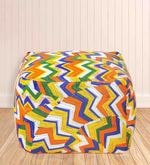 Large Cotton Canvas Geometric Design Ottoman with Beans