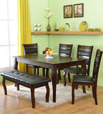 Larissa Six Seater Dining Set with Bench in Capuccino Color