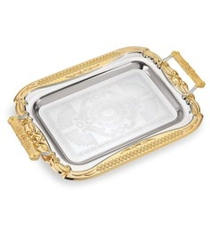 Lacuzini Stainless Steel Gold & Silver Finished Serving Tray