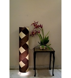 Lamp House Brown Poly Cotton Floor Lamp at pepperfry
