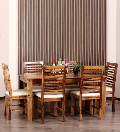Buy Lateral Solid Wood Six Seater Dining Set In Natural Finish By F9 Furnichair Online