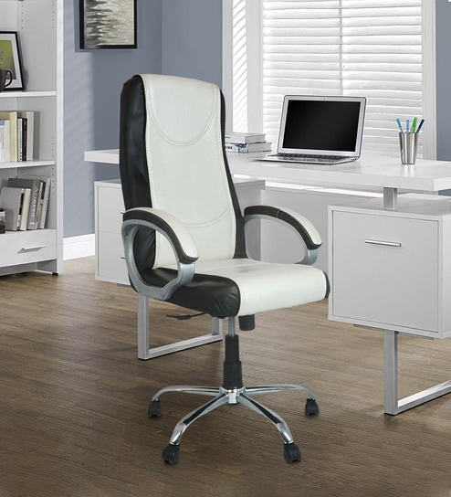 Brilliant Latex Ergonomic Chair In White Black Colour By Furniease Theyellowbook Wood Chair Design Ideas Theyellowbookinfo