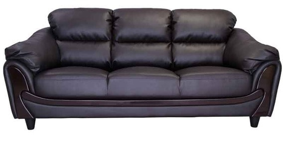 lakewood leatherette three seater sofa in dark brown colour by