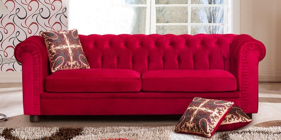 Peachy Lannister Three Seater Sofa In Cherry Red Colour By Peachtree Machost Co Dining Chair Design Ideas Machostcouk