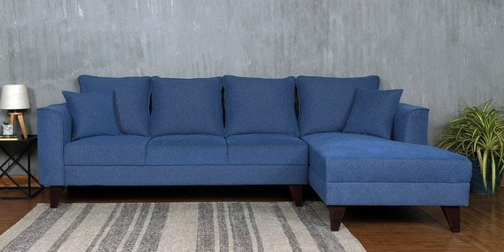Buy Lara Lhs Three Seater Sofa With Lounger And Cushions In Denim