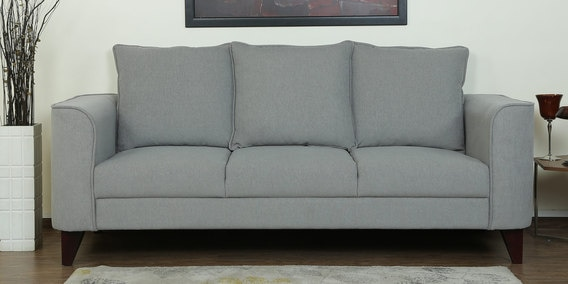Lara Three Seater Sofa in Ash Grey Colour by CasaCraft