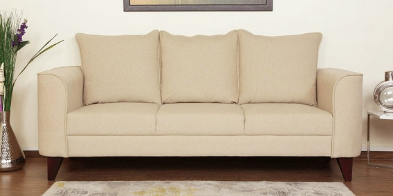 Buy Lara Three Seater Sofa In Beige Colour By Casacraft Online