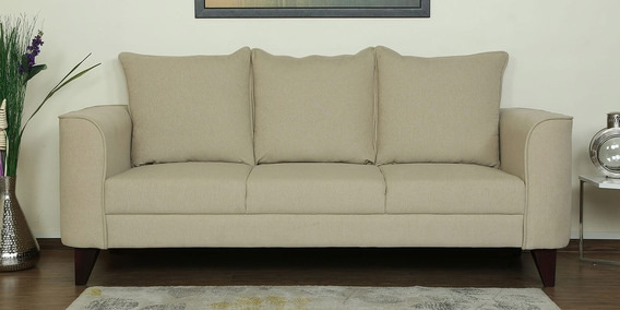 Lara Three Seater Sofa in Beige Colour by CasaCraft