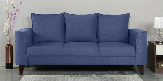 Lara Three Seater Sofa in Denim Blue Colour by CasaCraft