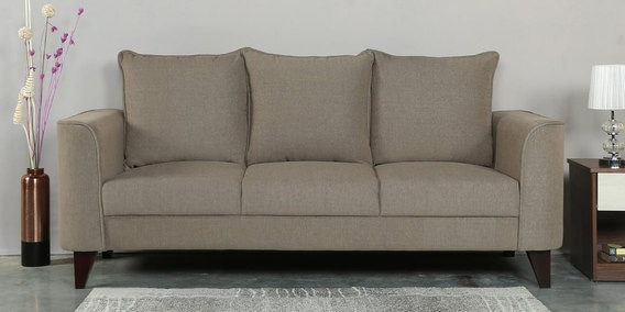 Lara Three Seater Sofa in Sandy Brown Colour by CasaCraft