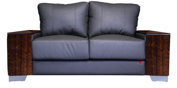 Laredo Double Seater Sofa In Chesswood Finish With Grey Upholstery By Durian