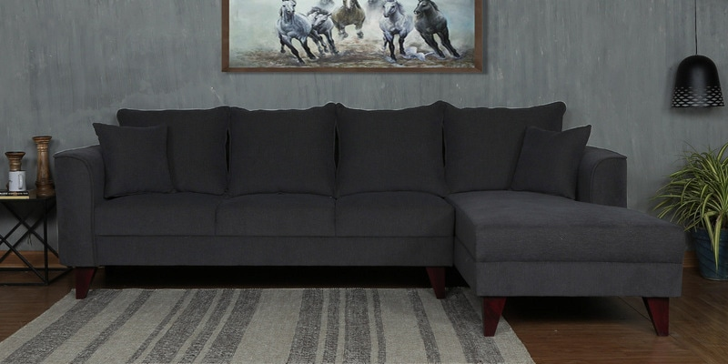 Lara LHS Three Seater Sofa with Lounger and Cushions in Charcoal Grey Colour by CasaCraft