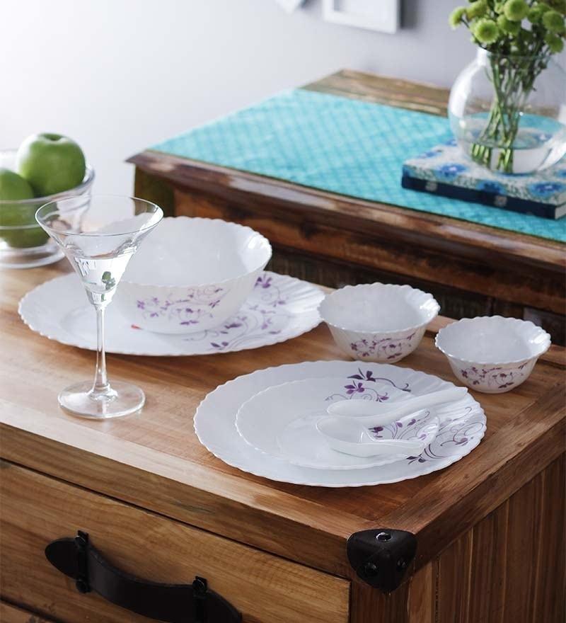 Dazzle Purple Opalware Dinner Set - Set of 13 by La Opala