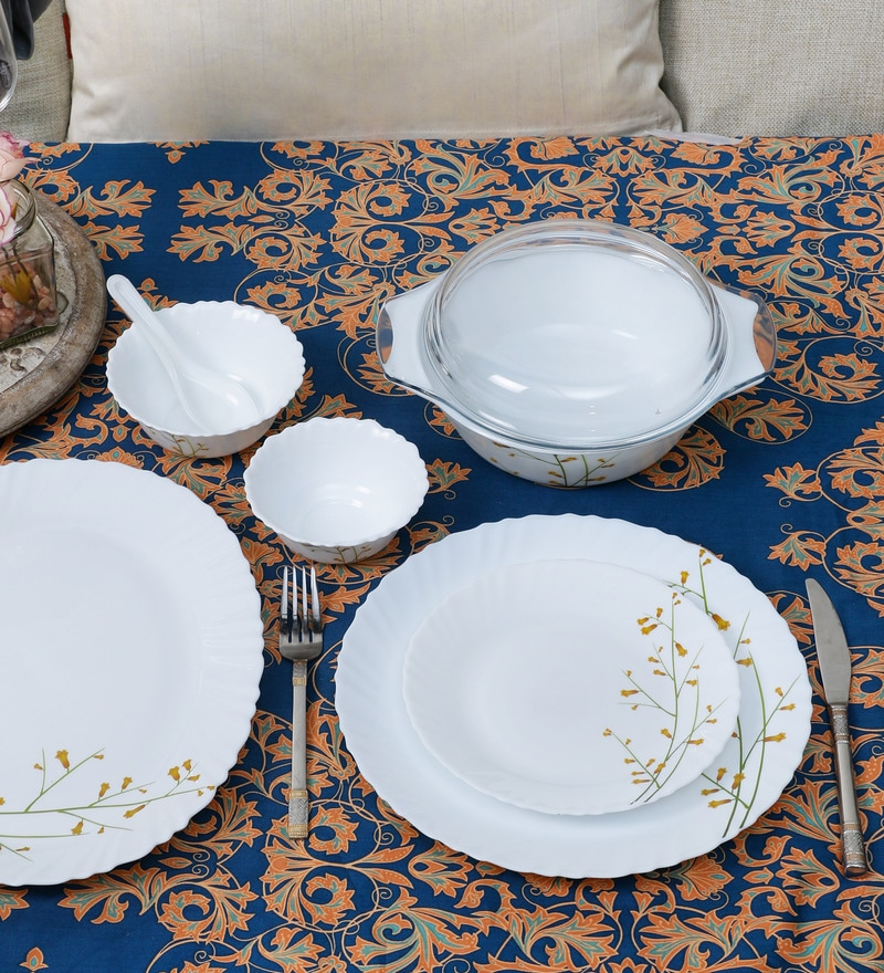 Diva Citron Weave Opal Ware 35-Piece Dinner Set by La Opala