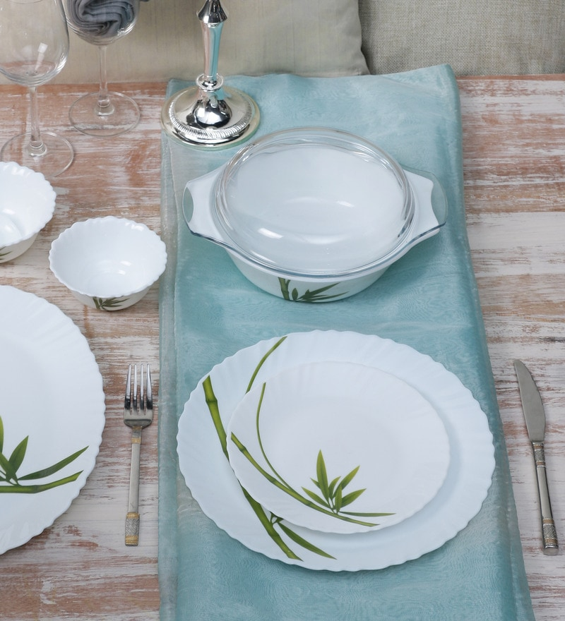 Diva Fluted Green Opal Ware 35-Piece Dinner Set by La Opala