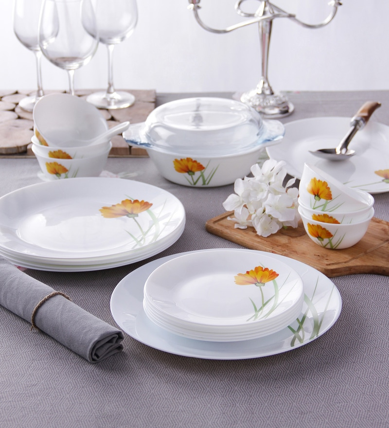 Diva Glowing Charm Opal Ware 35-Piece Dinner Set by La Opala