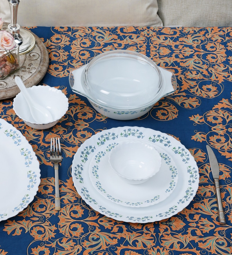 Diva Lavender Dew Opal Ware 35-Piece Dinner Set by La Opala