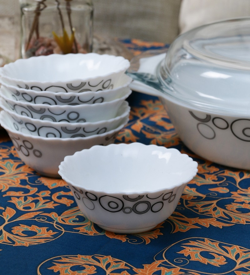 La Opala Diva Mysty Drop Opal Ware 110ML Veg Bowl - Set of 6