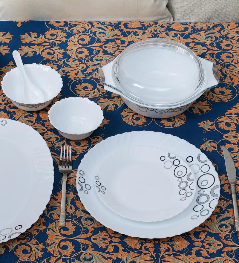 Diva Mysty Drop Opal Ware 35-Piece Dinner Set by La Opala