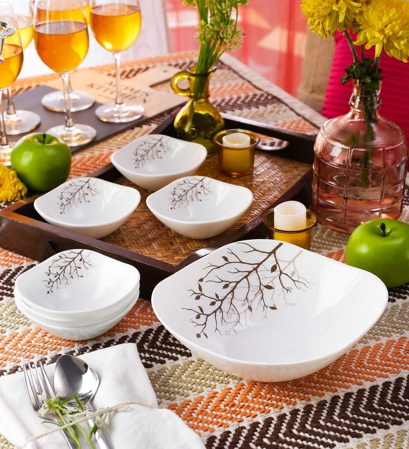 La Opala Diva Quadra Autumnal Opal Ware Dessert Set - Set of 7