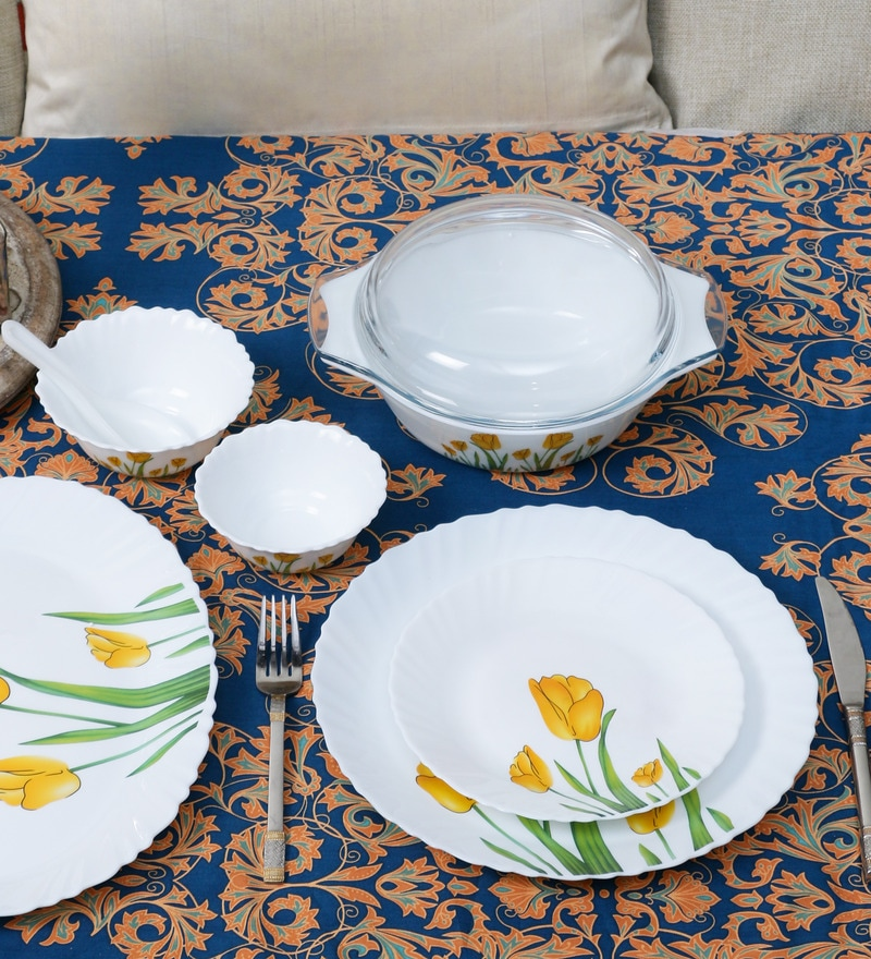 La Opala Diva Tulip Passion Opalware Dinner Set - Set of 35