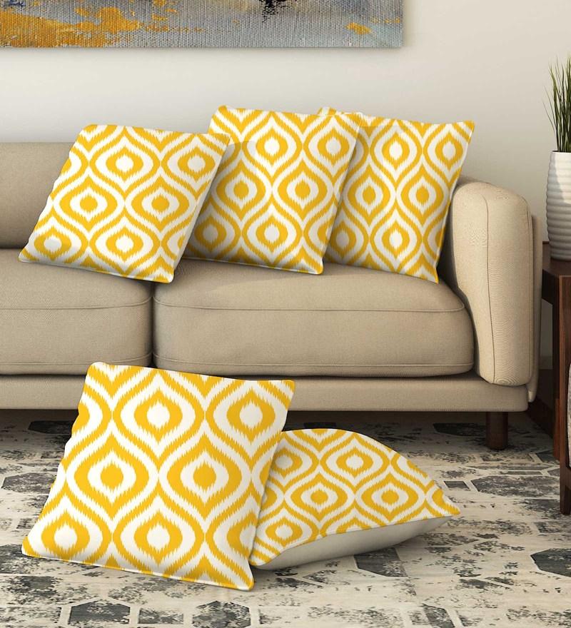 La Verve Multicolour Cotton 16 x 16 Inch Printed Cushion Cover
