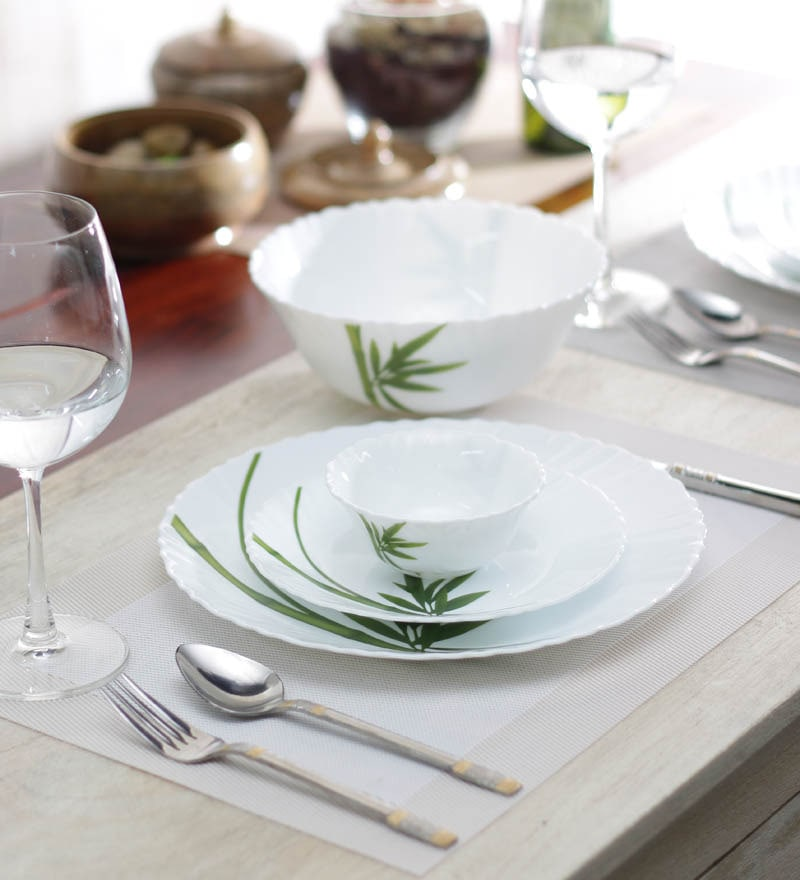 Diva Fluted Green Opalware Dinner Set - Set of 19 by La Opala