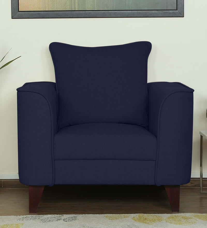 Lara One Seater Sofa in Navy Blue Colour by CasaCraft