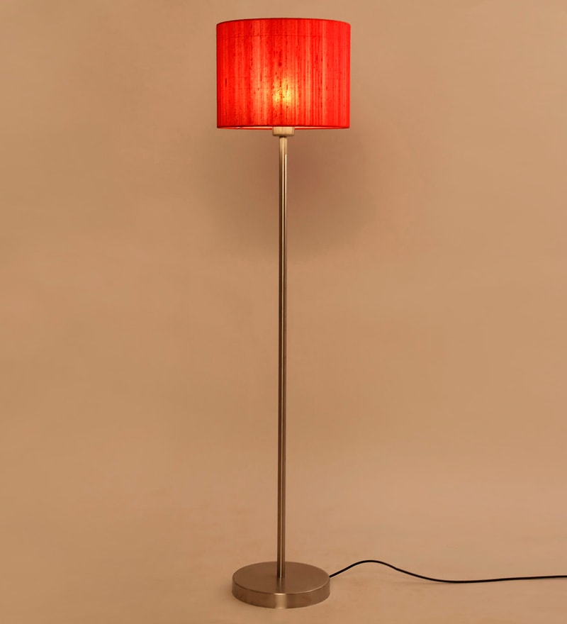 Red Iron & Raw Silk Fabric Floor Lamp by Lavish