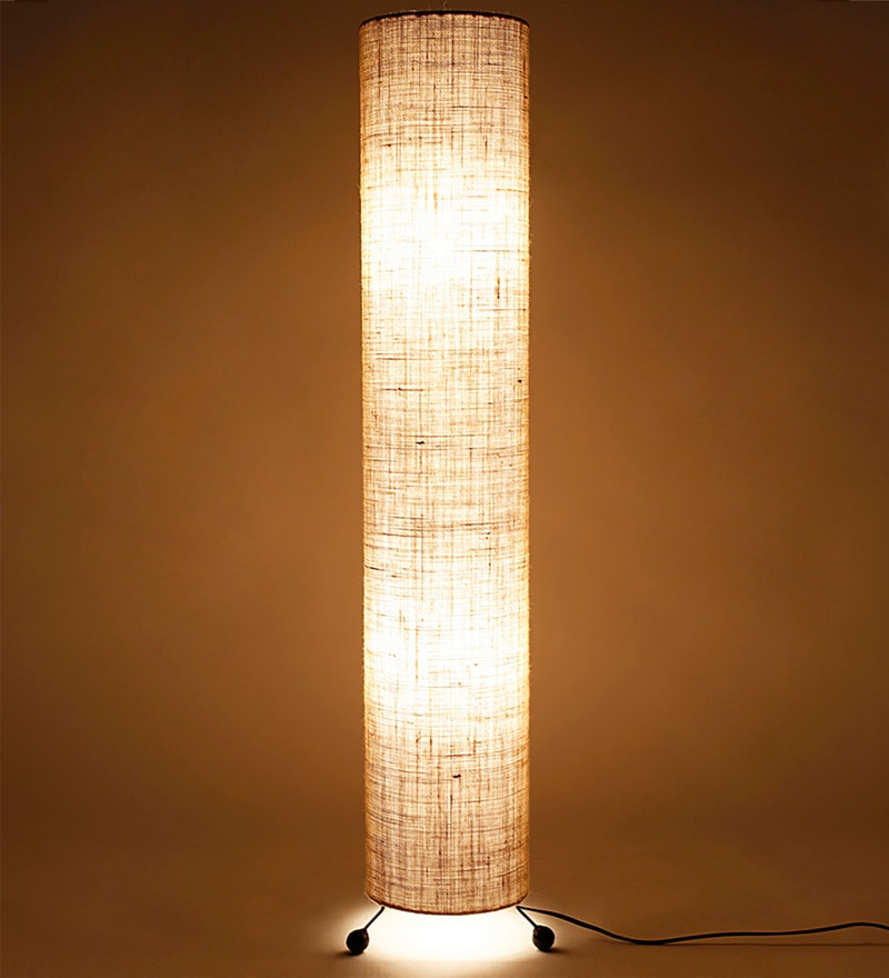 Buy cream jute round floor lamp by lavish online for Buy floor lamp online