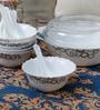 La Opala Diva Mysty Drop Opal Ware 130 ML Soup Bowl and Spoons - Set of 6