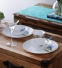 Blooming Blue Opalware Dinner Set - Set of 6 by La Opala