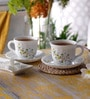 La Opala Tulip Large Floral Magic Opal Ware 180 ML Cup and Saucer - Set of 6
